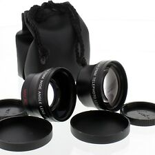 Telephoto and Wide Angle + Macro Lens kit for Sony Handycam Camcorders,US seller