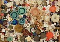 BUTTONS! HUGE Lot TWELVE POUNDS Vintage Sewing Buttons 12lb Estate Mix 12PD9