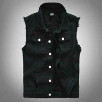 Fashion Men cotton Waistcoat Punk Denim Vest Sleeveless Jean Jackets Black