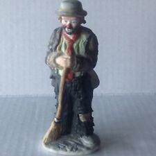 Flambro Emmett Kelly Ceramic Figurine Miniature collection Clown with Broom
