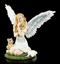 Süße Engel Figur mit Tiger-Babys - Fantasy Fee Elfe Statue Deko