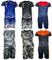 Boys Camouflage Army Camo Vest With Shorts Kids Tops Casual Cotton T Shirt Polo