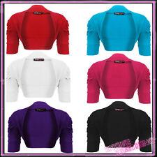 Ladies Plus Size Ruched Bolero Cotton Shrug New Womens Cardigan UK 16 - 26