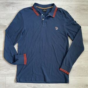 Paul Smith Long Sleeve Polo Shirt Size Large Mens Blue Casual Top