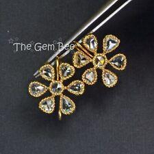 18k Solid Yellow Gold 3 Carats Rose Cut Diamond Flower Earrings Pair