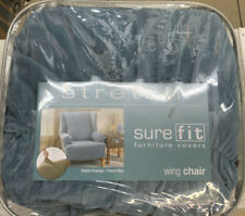✅ SUREFIT STRETCH‼WING CHAIR stretch Pinstripe French Blue‼