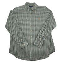 Ralph Lauren Mens Green Plaid Cotton Long Sleeve Button Down Shirt Size XL