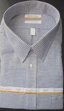 Roundtree Yorke Gold Label Dress Shirt * Blue Tan Tic Pattern * 20 - 36/37 Tall