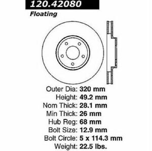 StopTech 128.42080R Sport Cross Drilled Brake Rotor For 15 Infiniti Q40 NEW