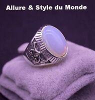 Bague Homme,Acier,Argent,Design Antique,Pierre de Lune,Blanche,Reflèts,Bleu Ciel