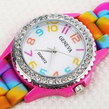 Girls Women Rainbow Rhinestone Crystal Silicone Jelly Link Band Dress Watches~