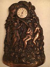 Antique 19 Century Waterbury Adam & Eve Bronze/Metal Mantel Clock