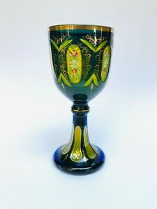 OLD ANTIQUE BOHEMIA HAND PAINTED GLASS GOBLET GREEN AND BLUE