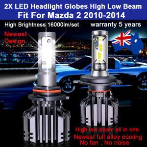 For Mazda 2 DE Hatchback 1.5 2011 2012 Headlight Globes High Low Beam LED bulbs