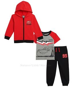 DISNEY CARS Size 2T-4T Toddler Boys 2 3 4 Set Hoodie Jacket Pants T Shirt Outfit