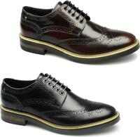 Base London WOBURN Mens Smooth Leather Smart Office Wedding Brogue Lace Up Shoes