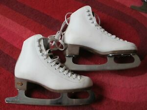 Riedell Size UK 1 or 2 Girl Lady woman Ice skate White Leather Shoes