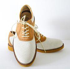 Men's Bass Burlington Perforated Saddle Oxford Shoes (Golden/Cream) Size 7D