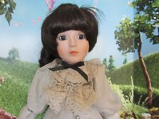 """Beatrice Dolls Porcelain Collector Doll brown hair Victorian 18"""" Tags Stand"""