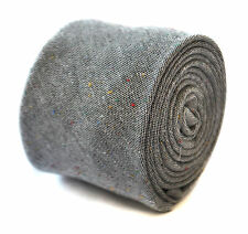 Frederick Thomas skinny pale speckled grey linen tie FT1901