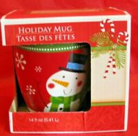 Coffee Cocoa Tea Mug Red and Green With Snowman 14 Oz New in Box Holiday