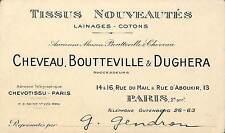 PARIS CARTE VISITE CHEVEAU BOUTTEVILLE DUGHERA TISSUS NOUVEAUTES