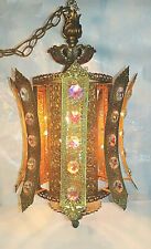 Vintage 1970s Dazzling Mediterranean Huge Crystal & Brass Filigree Swag Lamp MCM