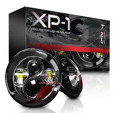 "XP-1 LED Projector Headlights 7"" Round Pair Black Light H6024 H13 H4 6000K"