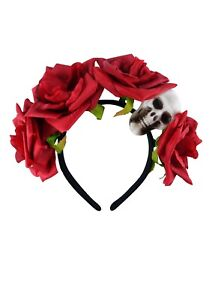 Day of the Dead Headband With Roses & Skull Ladies Gothic Halloween Fancy Dress