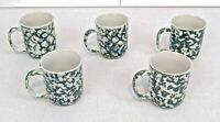 Folk Craft North Country Tienshan Mug Cup Set of 5 Ivory Green Sponge Stoneware