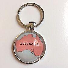 AUSTRALIA BRISBANE ADELAIDE CANBERRA Map Key Ring Keychain Silver vntg ATLAS