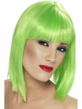 Green Glam Wig Ladies Fancy Dress Costume Accessory Short Lime Bob Wig
