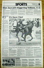 1986 newspaper SNOW CHIEF wins PREAKNESS horse race @ PIMLICO Baltimore MARYLAND
