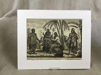 1746 Antico Stampa 18th Secolo Incisione Batavia Nativi Malese Java Merchant