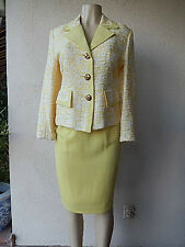 Easter YELLOW SKIRT TWEED GLITER JAKET SZ 12 ?  MADE IN FRANCE FANCY WOMENS SUIT