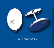 Unique Wishlist Conjunto Plata Ley Diamante Gemelos Ovalados BV0096