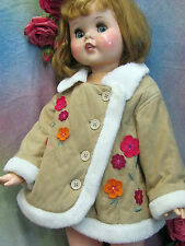Vintage BABY or DOLL coat JACKET faux SUEDE fur TRIM flower APPLIQUES washable