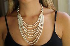 Oscar de la Renta Swarovski Crystal Multi Strand Faux Pearl Necklace