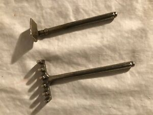 Antique Nickle Plated Cast Iron Toy Rake and Hoe Kenton Kilgore