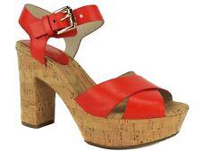 Michael Kors Women's Natalia Platform Sandals Mandarin Orange Leather 6.5 M