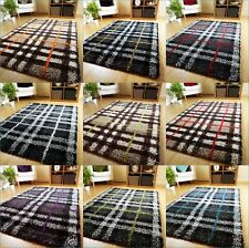 SMALL LARGE THICK TARTAN SHAGGY PILE RUGS MODERN CHECK DESIGN LONG HALL RUNNERS