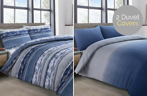 Twin Pack Elevations Ombre Contrasting Stripes Duvet Cover & Pillowcase Set