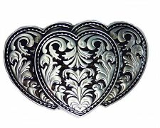 Buckle Triple Hearts, Antique Silver Look - BELT BUCKLE