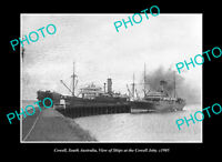 OLD POSTCARD SIZE PHOTO COWELL SOUTH AUSTRALIA SHIP AT THE TOWN JETTY c1905