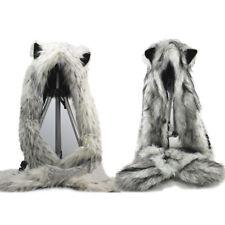 2pcs Wolf & Snow Leopard Hood Faux Fur Hat with scarfs mittens Spirit 3 in 1 Hat