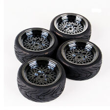 4 Pcs 1:10 Flat On Road Racing Rubber Tires Wheel Rim For HSP HPI RC Car 10362