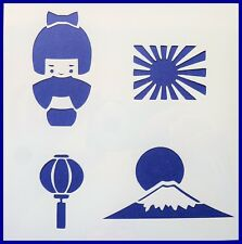Flexible Stencil *JAPAN* Japanese Doll Flag Mount Fuji Card Making 14cm x 14cm