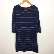 womens Banana Republic striped sweater dress, navy, long sleeve, size Large