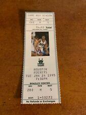 1995 Milwaukee Bucks v Houston Rockets Full Basketball Ticket Olajuwon 31 points