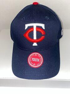 """Team MLB Baseball Youth Kids Minnesota Twins Hook Loop Tape Adjustable Cap 7"""""""